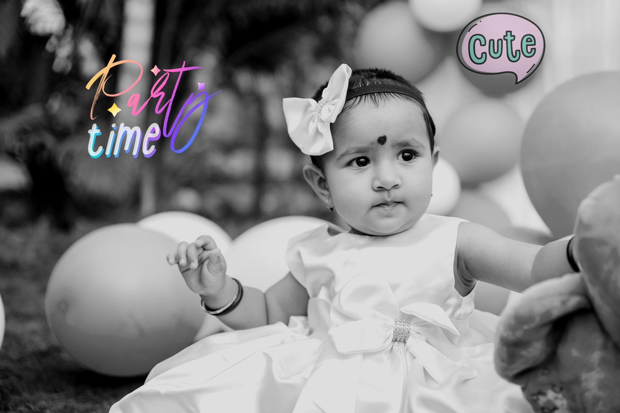 birthday photograph of baby girl